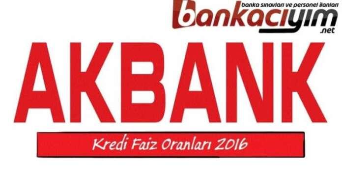 Akbank Karşılaştırmalı Kredi Faiz Oranları 2016