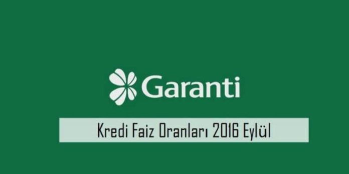 Garanti Bankası Karşılaştırmalı Kredi Faiz Oranları 2016