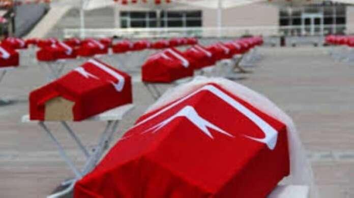 Üzeri Türk Bayraklı 150 Tabut Görenler Şok Oldular